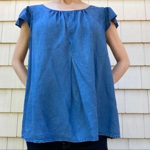 Gap Denim Short Sleeve Blouse with Puff Sleeves